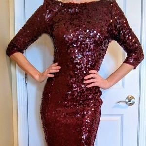 ANGL Wine Red Sequin Backless Gown